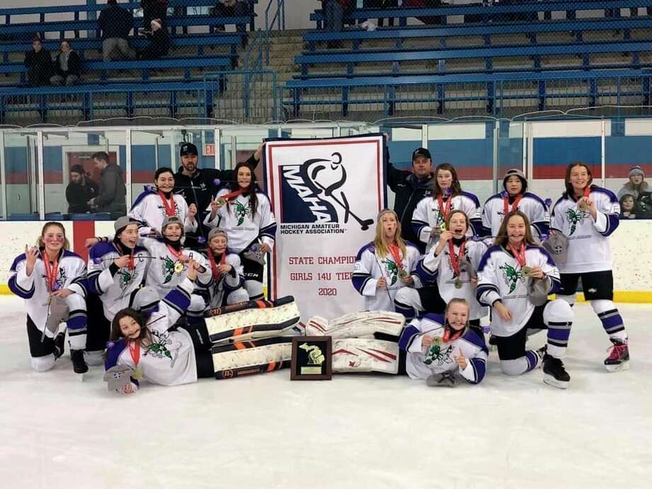 The 14U Midland Hornets Tier III state championship hockey team includes (front row, from left) Brooklyn Laking, Sydney Cluff; (second row, from left) Sophia Bowen, Morgan Stewart, Mackenzie Huber, Olivia Retzloff, Kyleigh Golombeski, Clara Beck, Martina Lobo; (third row, from left) Avery Laughton, Hannah Grendel, Taryn Burpee, Natalie Bachman, Ella Waskevich; (back row, from left) coaches Jake Stewart and Ryan Retzloff.