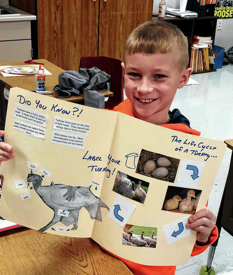 The Pike-Scott Agriculture in the Classroom program recently visited Pikeland Community School to teach its third-graders about poultry. Mrs. Syrcle's student, Isaac Ferguson, displays his completed turkey lapbook activity. Photo: Photo Provided
