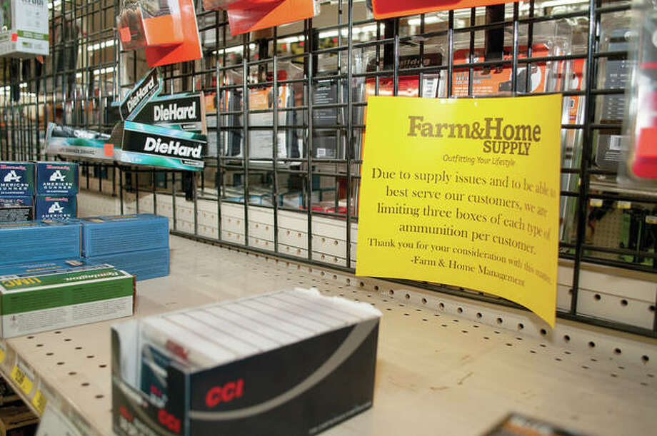 Midland Farm & Home Supply has limited the amount of ammunition that one person can buy. Gary Marlow, manager of the store's firearms section, said customers are taking boxes off the shelves as he stocking them. Photo: Darren Iozia | Journal-Courier