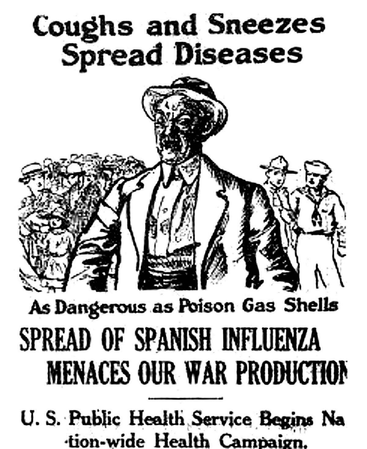 An advertisement about the Spanish flu's effect on the war effort published in the Fall of 1918. (Courtesy art/Manistee County Historical Museum)