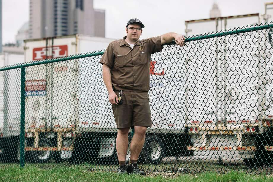 Nick Perry, a UPS driver, in Columbus, Ohio on March 20, 2020. With millions of Americans now on lockdown, home-delivery orders have soared, and the companies have become among the few power sources keeping the lights on in the darkening U.S. economy. (Andrew Spear/The New York Times) Photo: Andrew Spear, NYT