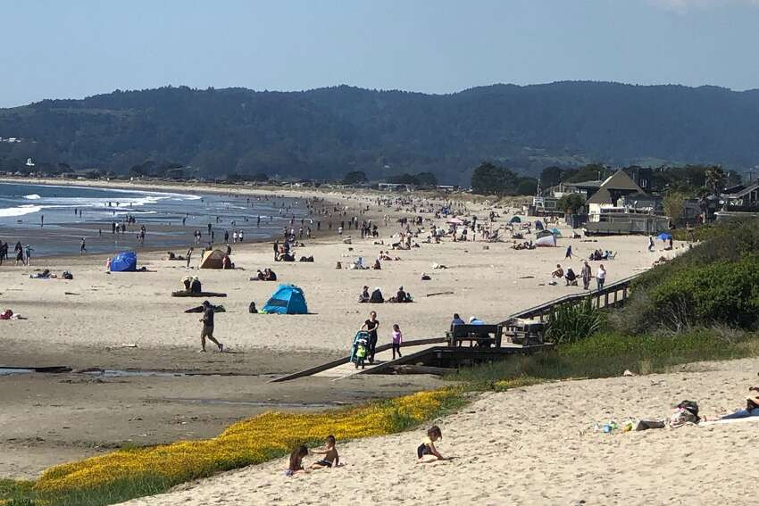 Even though the state has a shelter-in-place order, Stinson Beach was crowded on March 21, 2020.