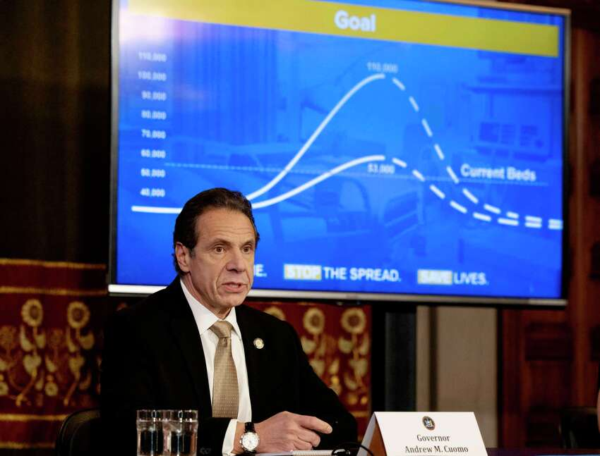 Gov. Andrew Cuomo provides a coronavirus update during a briefing on Sunday, March 22, 2020, in the Red Room at the Capitol in Albany, N.Y. (Office of Gov. Andrew Cuomo)