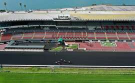 BERKELEY, CALIFORNIA  - MARCH 19: Horse racing continues at Golden Gate Fields with no fans in attendance due to coronavirus concerns on March 19, 2020 in Berkeley, California. As millions of people in the San Francisco Bay Area are under a shelter-in-place order due to COVID-19, horse racing at Golden Gate Fields continues but the events are not open to the public. (Photo by Justin Sullivan/Getty Images)
