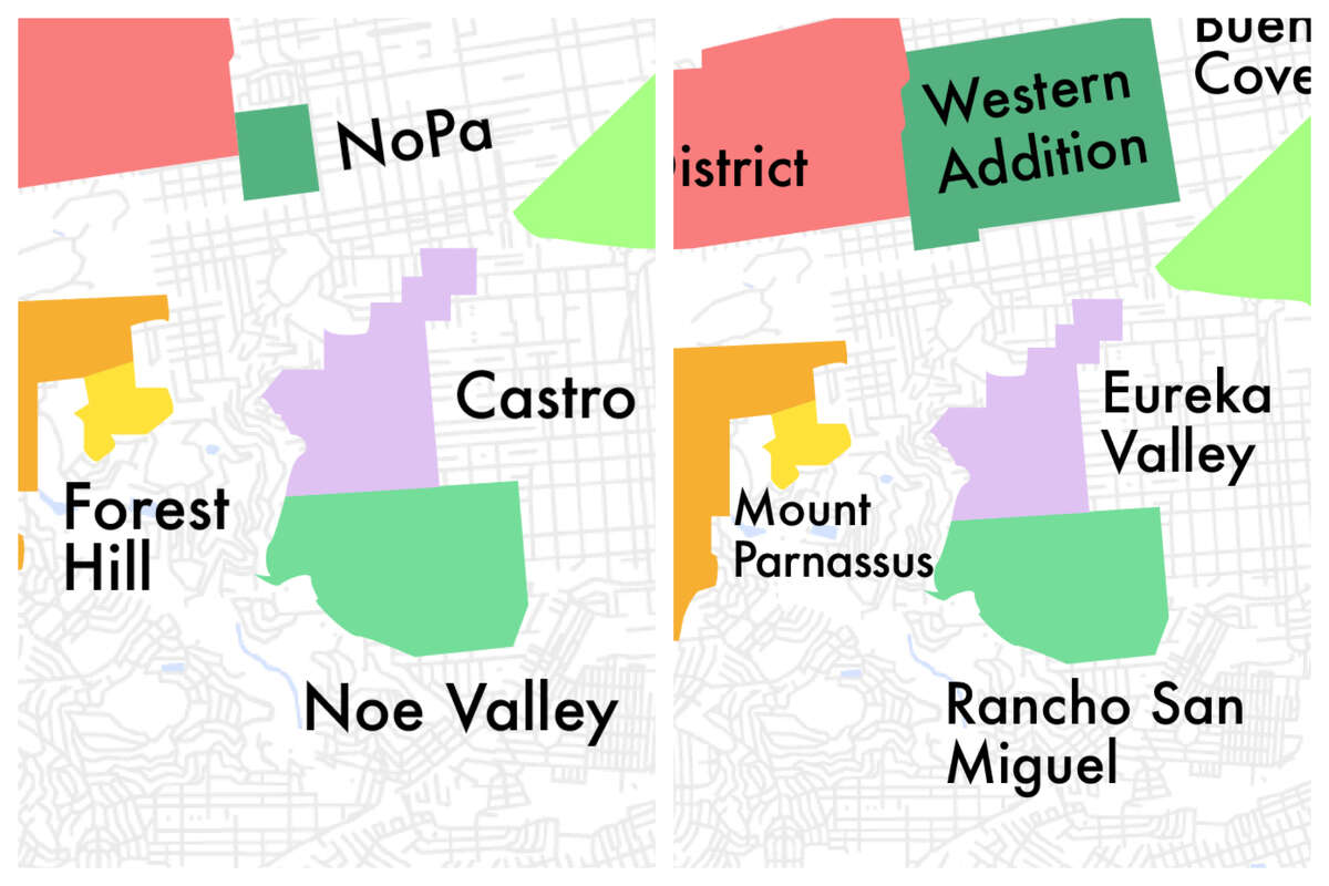San Francisco map showing the current, changed names of neighborhoods.