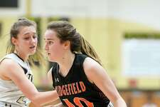 Ridgefield High's Kate Wagner (10) against Trumbull High on Jan. 10 at Trumbull High School.
