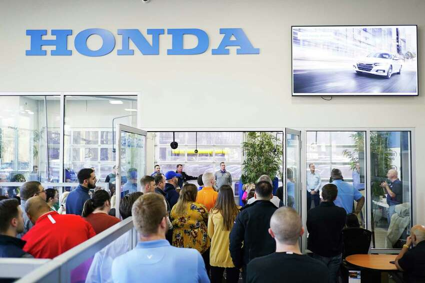 Employees of Mohawk Honda take part in their monthly employee meeting on Monday, March 9, 2020, in Scotia, N.Y. (Paul Buckowski/Times Union)