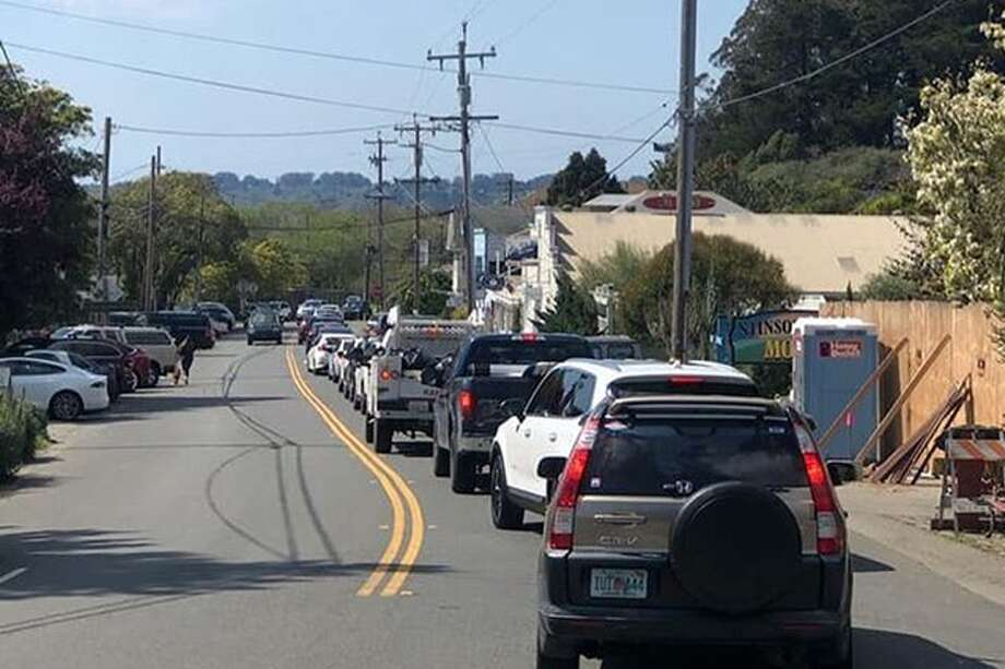 Even though the state has a shelter-in-place order, Stinson Beach and roads in West Marin were crowded on March 21, 2020. Photo: Marin County Fire Dept.