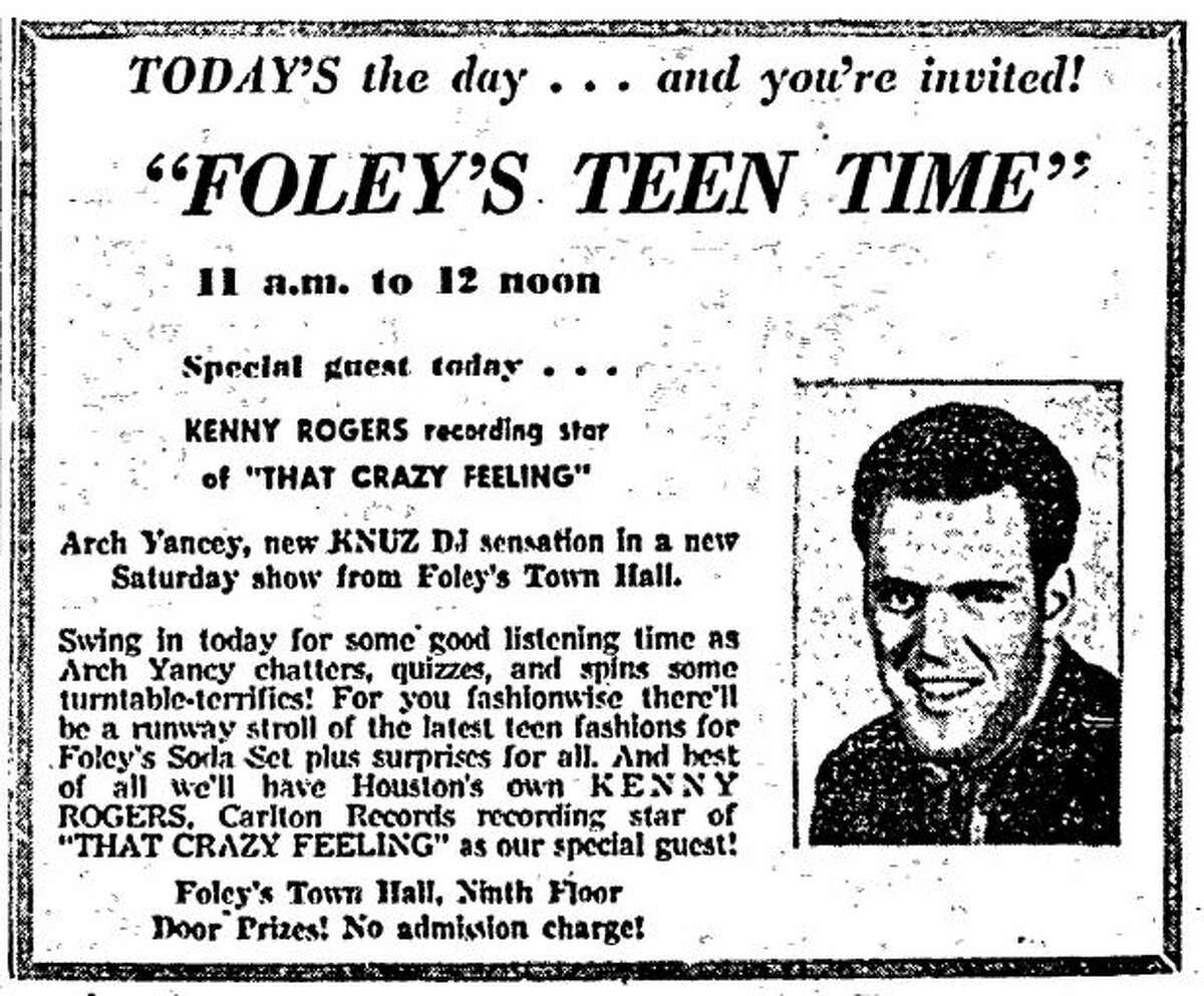 Houston Chronicle ad from April 12, 1958.