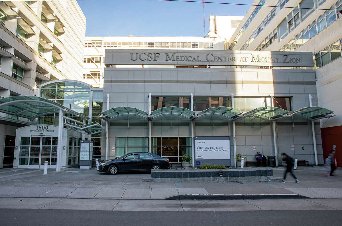 The main entrance to the UCSF Medical Center at Mount Zion, on Divisadero Street.