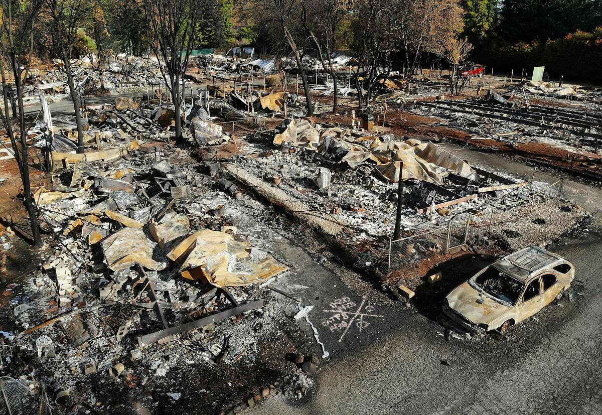 All but a few homes in the Pine Grove Mobile Home Park were destroyed in the Camp fire, seen in this file photos from November 2018. Pacific Gas & Electric announced Monday it has pleaded guilty to 84 counts of involuntary manslaughter related to the wildfire that burned much of Paradise, Calif. (Carolyn Cole/Los Angeles Times/TNS)