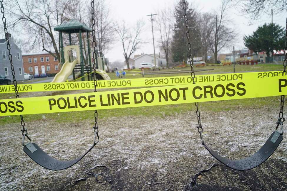 Police tape is used to mark off playground equipment at the Seventh Street Park on Monday, March 23, 2020, in Watervliet, N.Y. (Paul Buckowski/Times Union)
