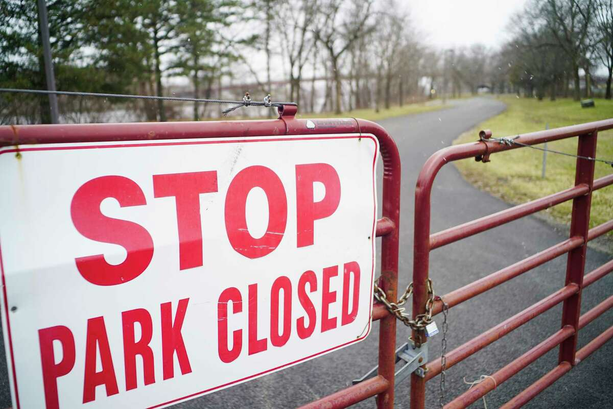 The Hudson Shores Park is locked up and closed on Monday, March 23, 2020, in Watervliet, N.Y. (Paul Buckowski/Times Union)