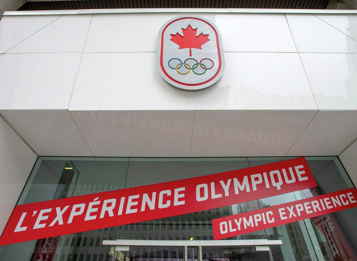 The front of Canada House is seen Monday, March 23, 2020 in Montreal. The Canadian Olympic team said it will not send a team to Tokyo this year if the Olympics are still held as originally scheduled for July 24-Aug. 9, 2020.