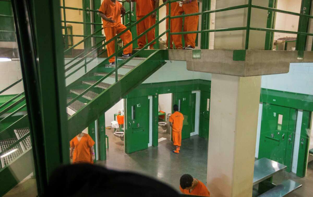 """Inmates are held in 2L, a group of cells referred to as a """"social learning unit,"""" Thursday, March 29, 2018, in Houston."""