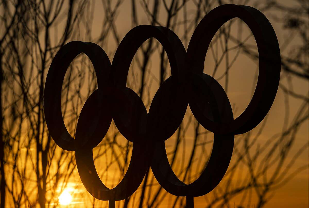 The Olympic rings in the Olympic Park in Stratford as Tokyo Olympics organisers are considering options to delay the Olympics with teams treating to pull out due to the coronavirus on March 23, 2020 in London, England.(Photo by Justin Setterfield/Getty Images)