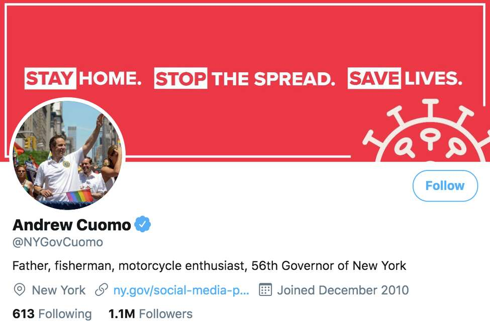 A screenshot of Gov. Andew M. Cuomo's Twitter account on Monday, March 23, 2020.