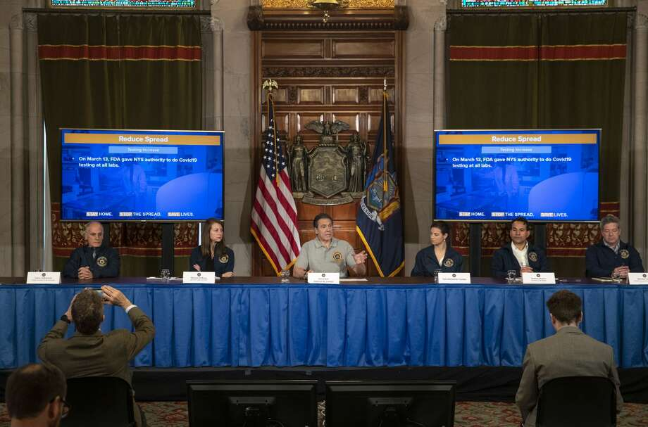 Flanked by former top aides, Gov. Andrew M. Cuomo announced in Albany on Monday the beginnings of plans to restart New York's economy. Photo: Gov. Cuomo's Office / Office of Governor Andrew M. Cuomo