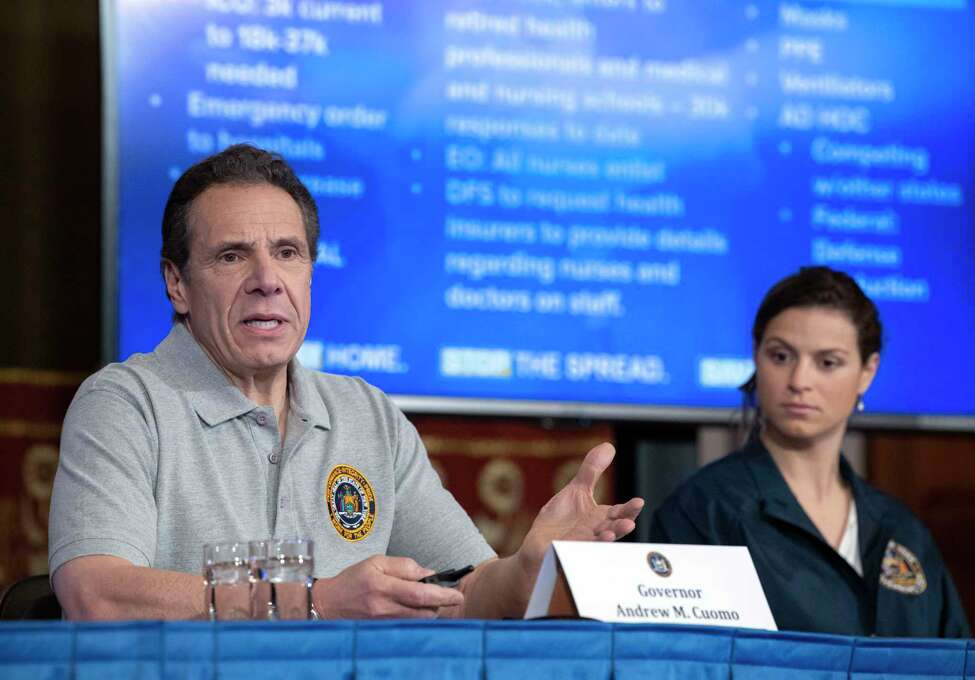 Gov. Andrew Cuomo provides a coronavirus update during a briefing on Monday, March 23, 2020, in the Red Room at the Capitol in Albany, N.Y. (Office of Gov. Andrew Cuomo)