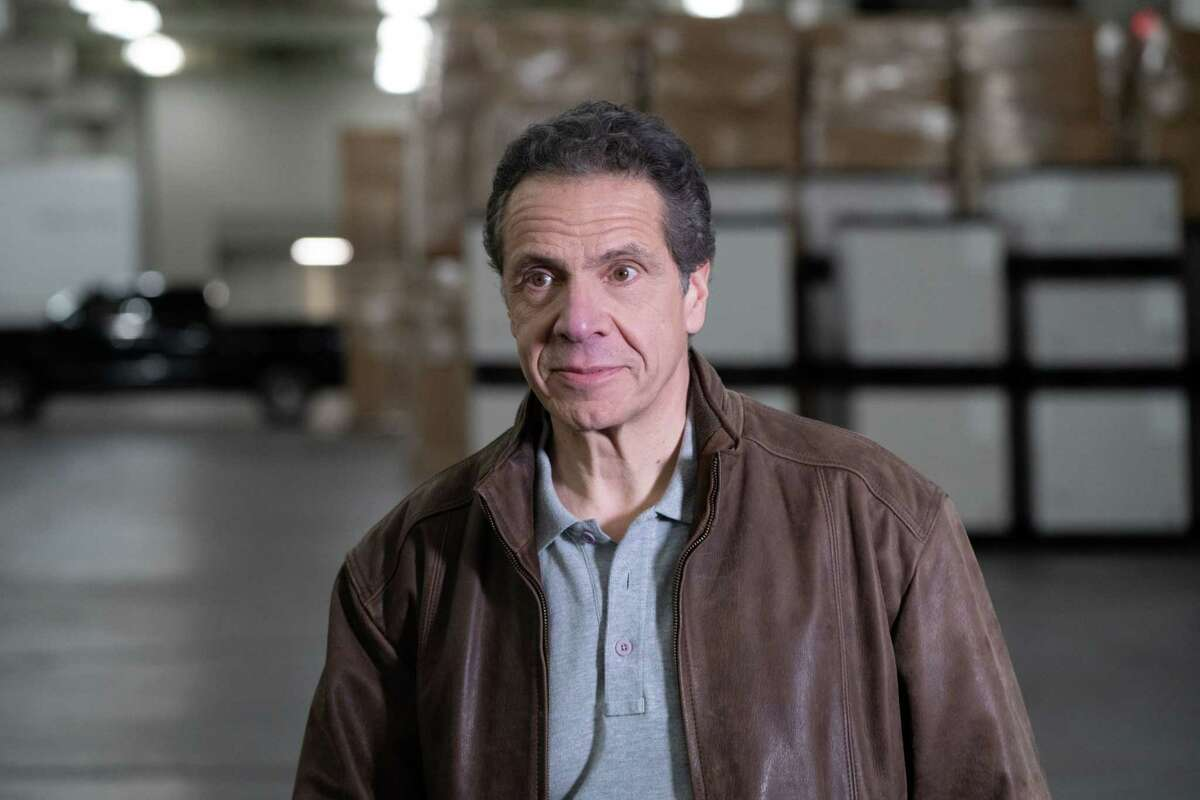 Gov. Andrew Cuomo tours construction of temporary FEMA hospital at the Jacob K. Javits Convention Center on Monday, March 23, 2020, in New York. (Office of Gov. Andrew Cuomo)