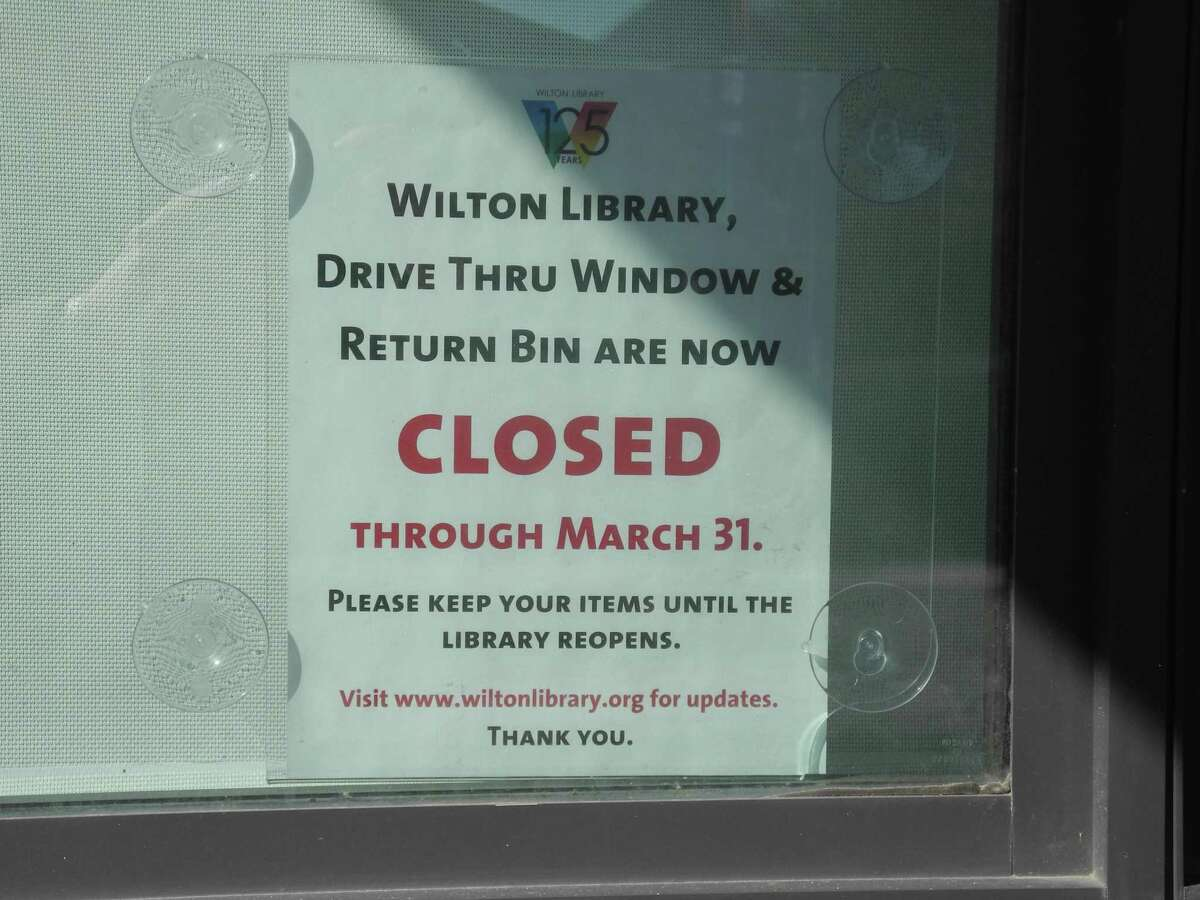 Wilton Library's drive-thru window on Godfrey Place will be closed at least through March 31.