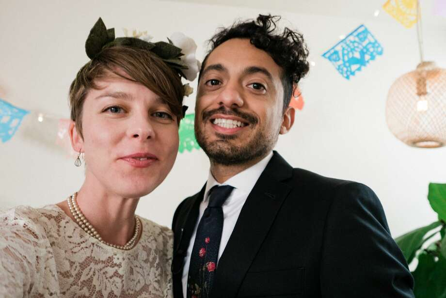 Amid current restrictions to shelter in place due to the coronavirus, newlyweds Christie Goshe and Jeffrey Placencia found a way to celebrate with their family and friends by getting married online. Photo: Courtesy Of Christie Goshe And Jeffrey Placencia