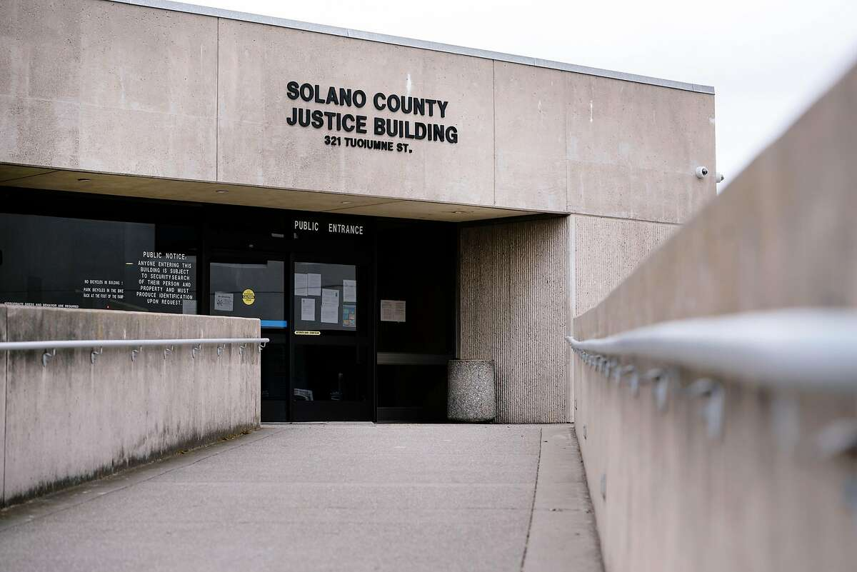 An exterior view of the Solano County Justice Building in Vallejo, Calif, on Monday, March 23, 2020. On Tuesday morning, a Solano County courtroom is planning to hear what may be the last jury trial in the state, that's still proceeding despite shelter-in-place orders.