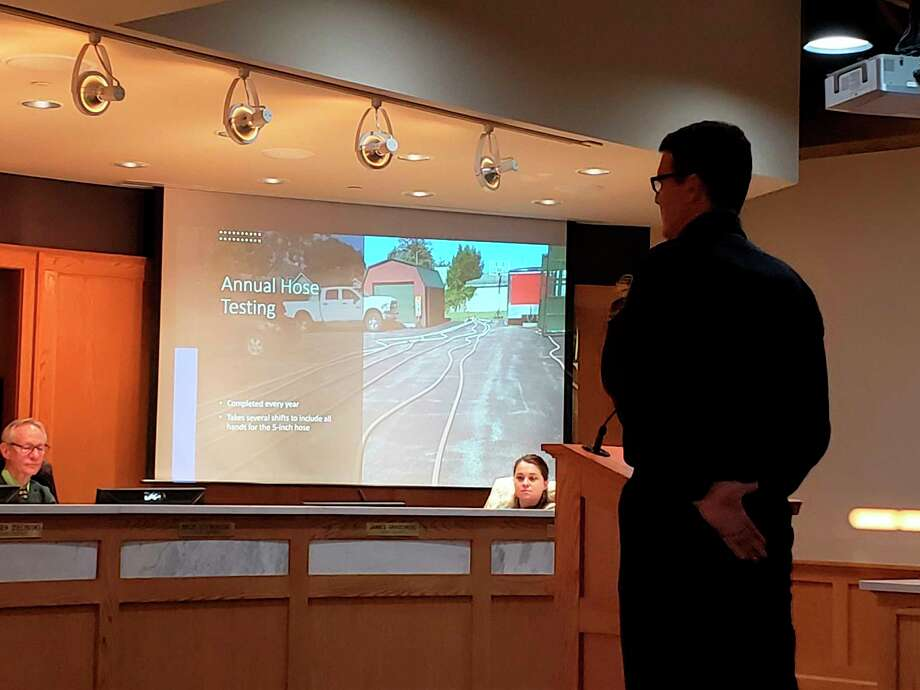 Tim Kozal, Manistee public safety director, presented to city council March 17 giving an annual report on activities police have been involved in in the last year. (Arielle Breen/News Advocate)