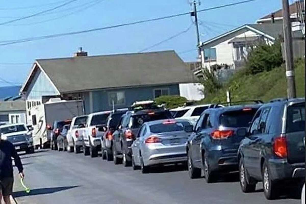 Even though the state has a shelter-in-place order, Stinson Beach and roads in West Marin were crowded on March 21, 2020.