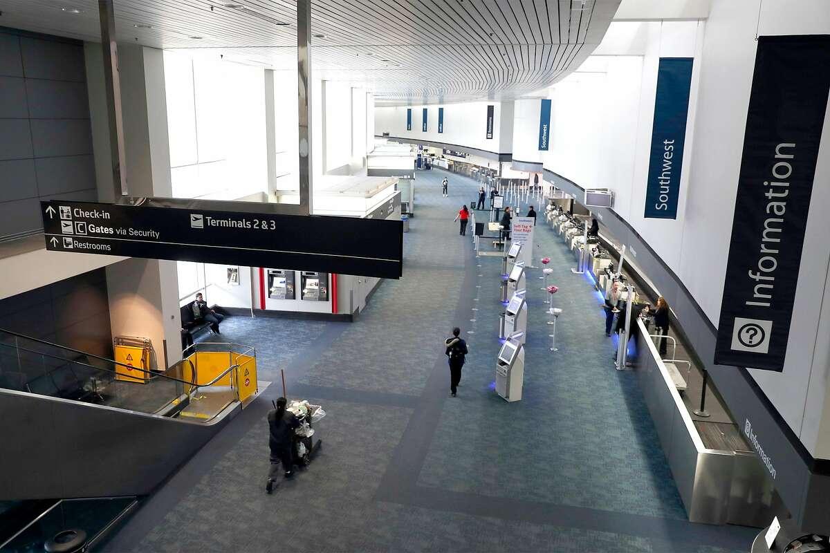 Terminal 1 at San Francisco International Airport in San Francisco, Calif., on Monday, March 23, 2020.