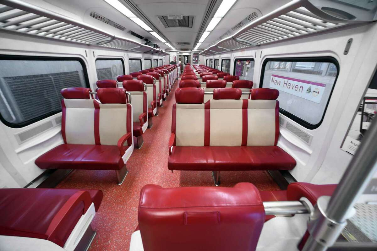 A Metro-North Railroad car remains empty as the train prepares to depart Union Station in New Haven bound for Grand Central Station in New York on March 23.
