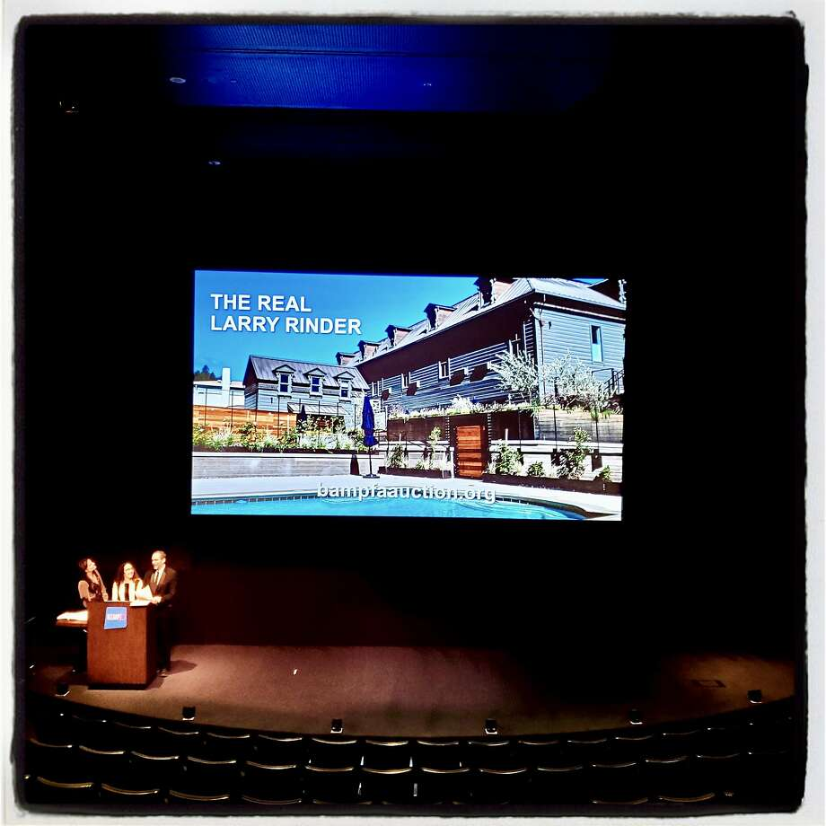 SB Master (left), gala co-chair Carla Crane and recently retired BMPFA director Larry Rinder conduct a virtual live auction in the museum's empty theater on March 10, 2020, because of fears of the coronavirus. Photo: A.J. Fox