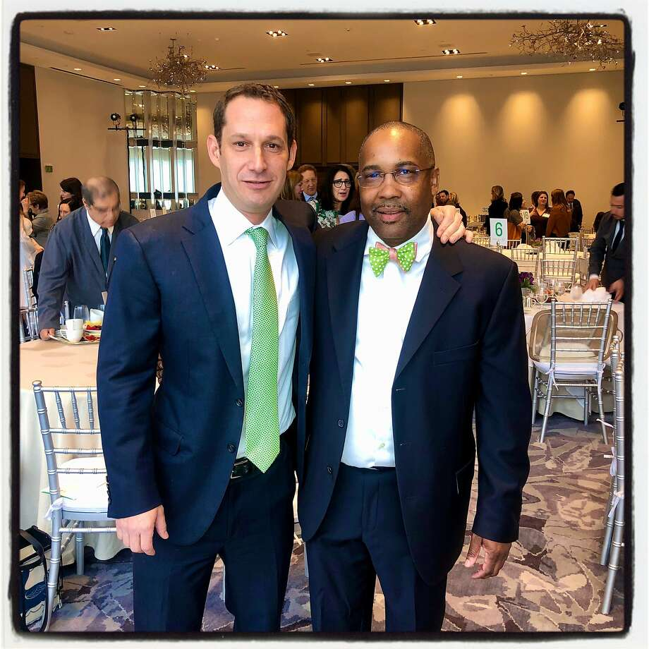 Tipping Point founder-board chairman Daniel Lurie (left) with Tipping Point CEO Sam Cobbs in December 2019, way before the Bay Area was ordered to shelter in place. Photo: Catherine Bigelow / Special To The Chronicle 2019