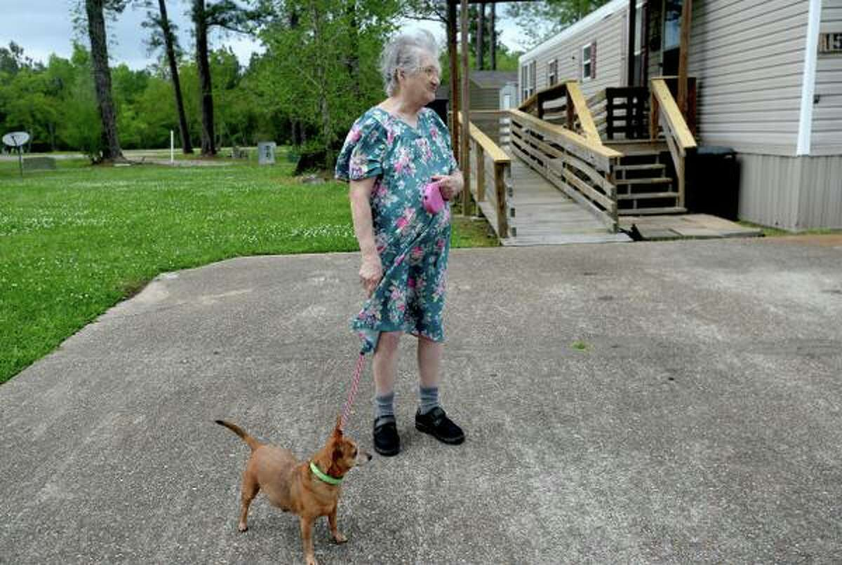 Robyn Cornish, 83 and a long-time resident of Forest Hollow Mobile Home Park, watches for her home health care nurse Monday as she talks about the recent incident of water being shut off in the midst of a global pandemic.