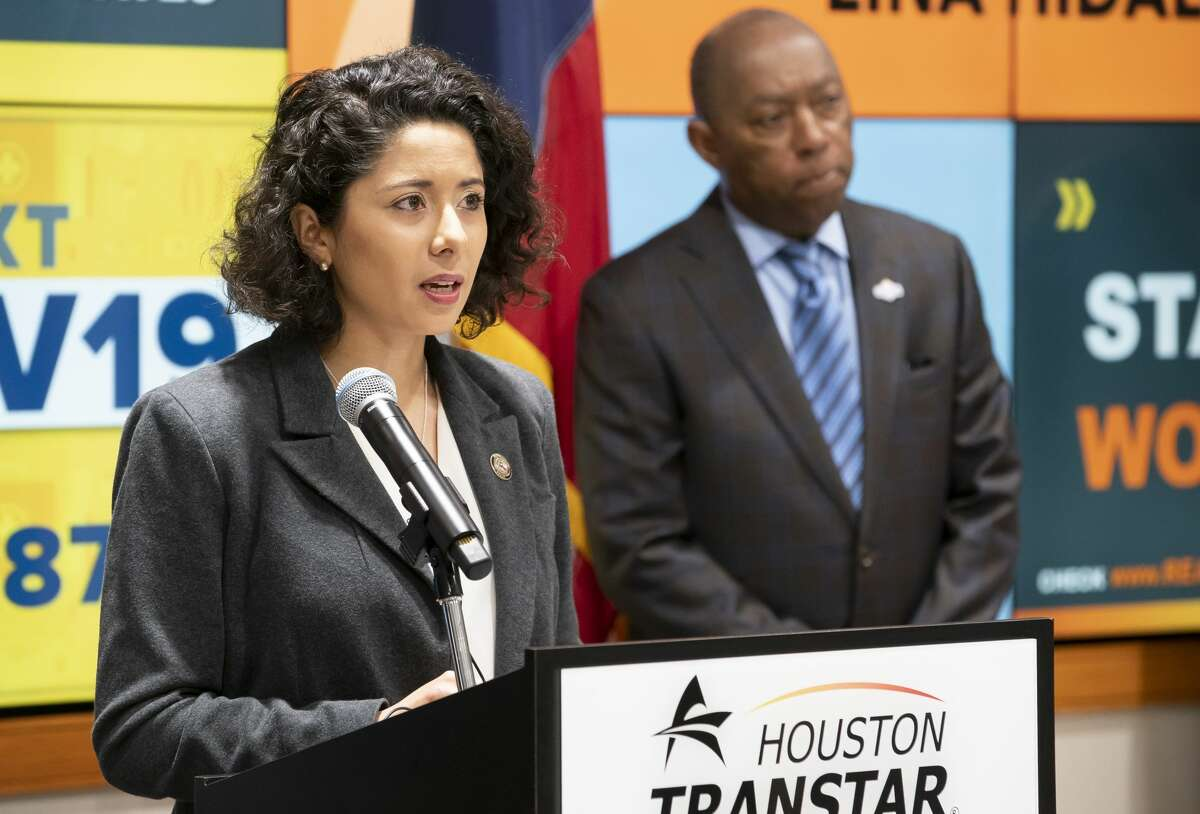 Harris County Executive Lina Hidalgo and Houston Mayor Sylvester Turner begin a press conference announcing that the county will go into a more restricted lock-down until April 3, Tuesday, March 24, 2020, at TranStar in Houston.