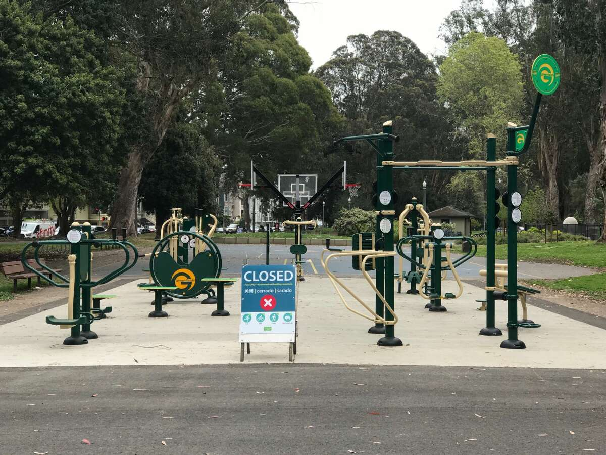 A playground in the panhandle of Golden Gate Park is closed during the shelter-in-place order March 23, 2020, in San Francisco, Calif., because of the coronavirus pandemic.