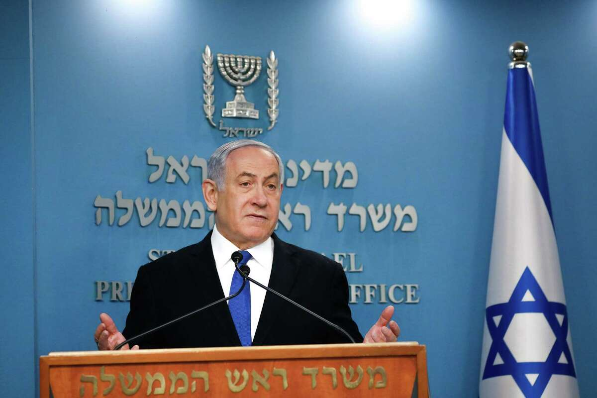 Israeli Prime Minister Benjamin Netanyahu speaks at a press conference in Jerusalem.