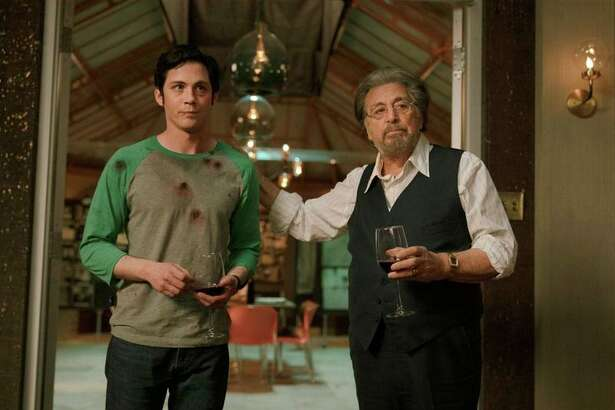 "Logan Lerman and Al Pacino star in ""Hunters"" on Amazon."