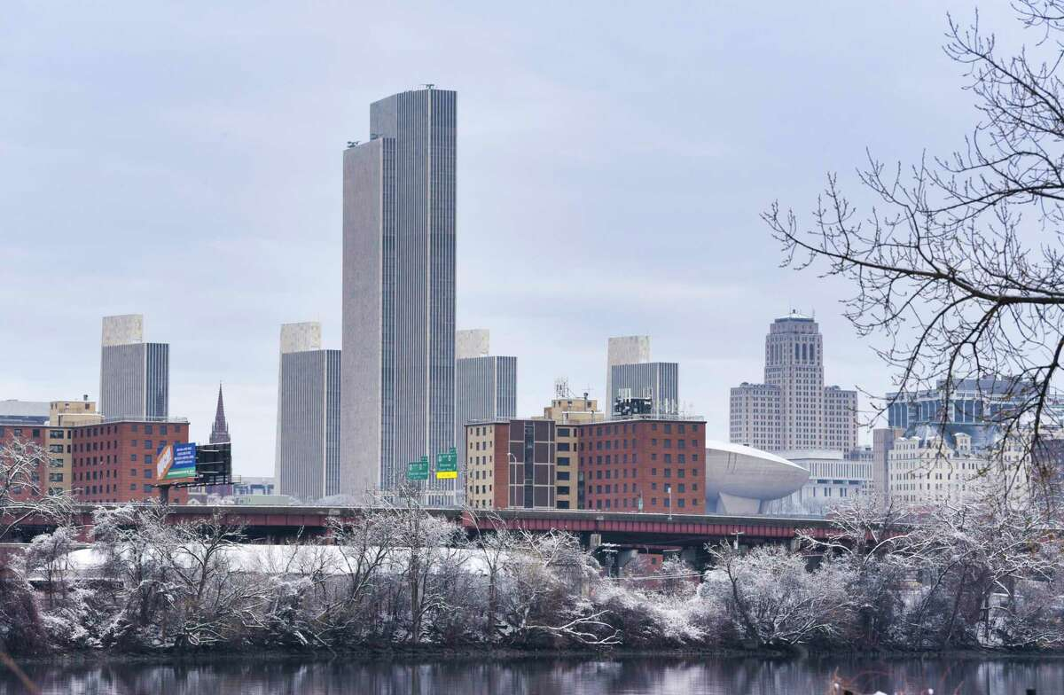 A view of the Albany skyline from across the Hudson River on Tuesday, March 24, 2020, in Rensselaer, N.Y. (Paul Buckowski/Times Union)