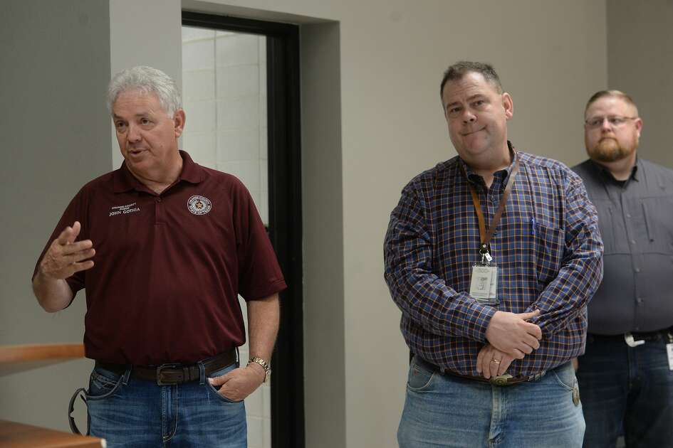 Representatives from multiple Southeast Texas counties, including John Gothia, annnounce the opening of a drive-thru testing unit for COVID-19 at Jack Brooks Regional Airport Monday. Photo taken Monday, March 23, 2020 Kim Brent/The Enterprise