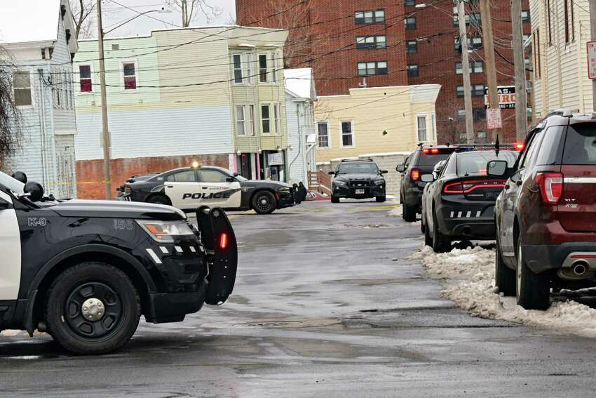 Police close off Albany Street between Hulett and Craig Streets for reports of a shooting on Tuesday, March 24, 2020 in Schenectady, N.Y. (Lori Van Buren/Times Union)