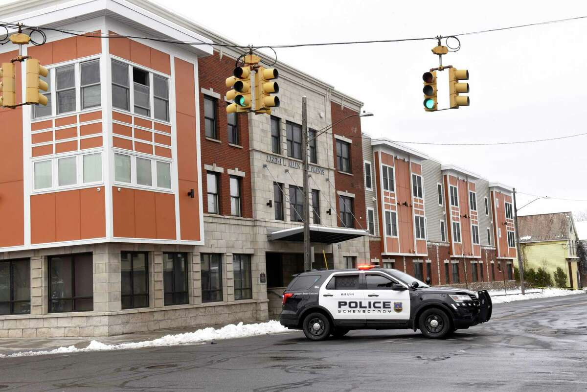 Police close off Albany Street between Hulett and Craig Streets for reports of a shooting on Tuesday, March 24, 2020 in Schenectady, N.Y. The police cruiser is parked in front of the Joseph L. Allen Apartments. (Lori Van Buren/Times Union)