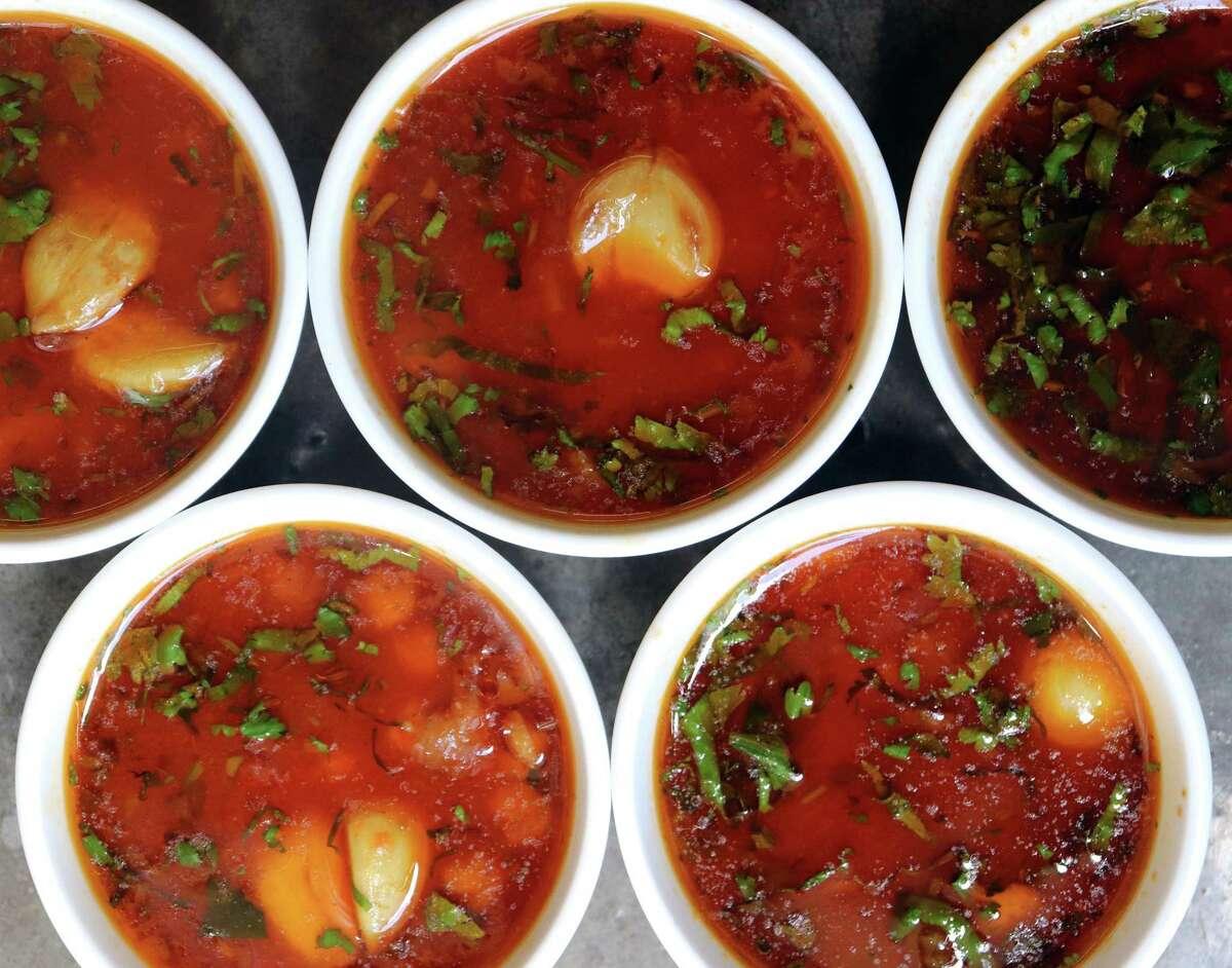 Garlic Garbanzo Soup is a healthful light meal.