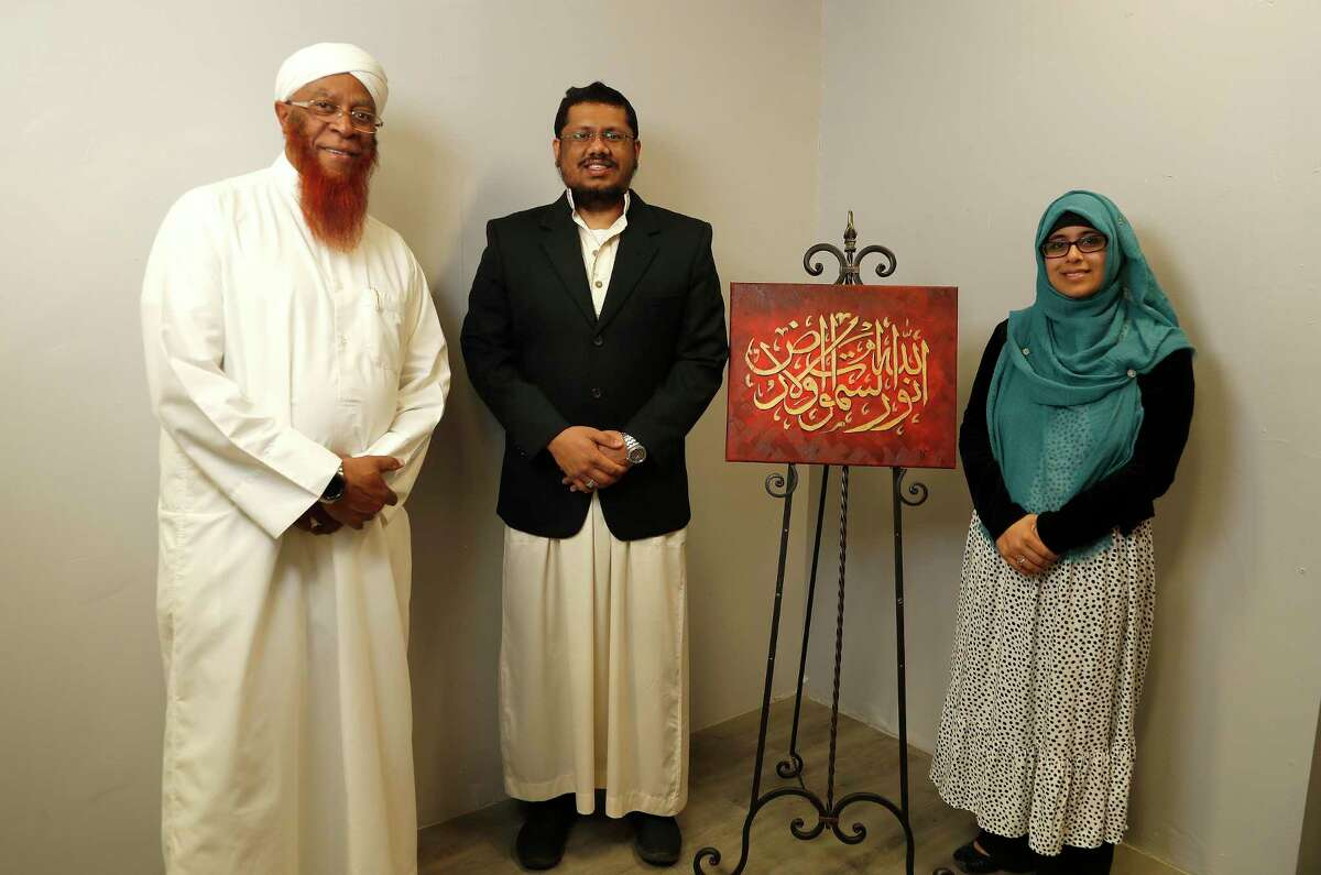 Qasim Ibn Ali Khan, Imam and Director of At-Tawhid Educational Center of Houston, Ahmed Siddiqi, Imam of Kingwood Islamic Center, and Safiya Rabat, Female Religious Director of Maryam Islamic Center at Quran and Soul, in Houston,Thursday, March 12, 2020. All are part of the new Houston Imam Association, which launched about two weeks ago. The group will give Imams in Houston a way to connect, discuss issues, promote best practices, and do outreach.