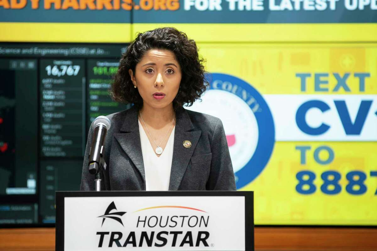 """Harris County Judge Lina Hidalgo begins a press conference announcing that the county will adopt a """"Stay Home, Work Safe"""" strategy until April 3, Tuesday, March 24, 2020, at TranStar in Houston."""