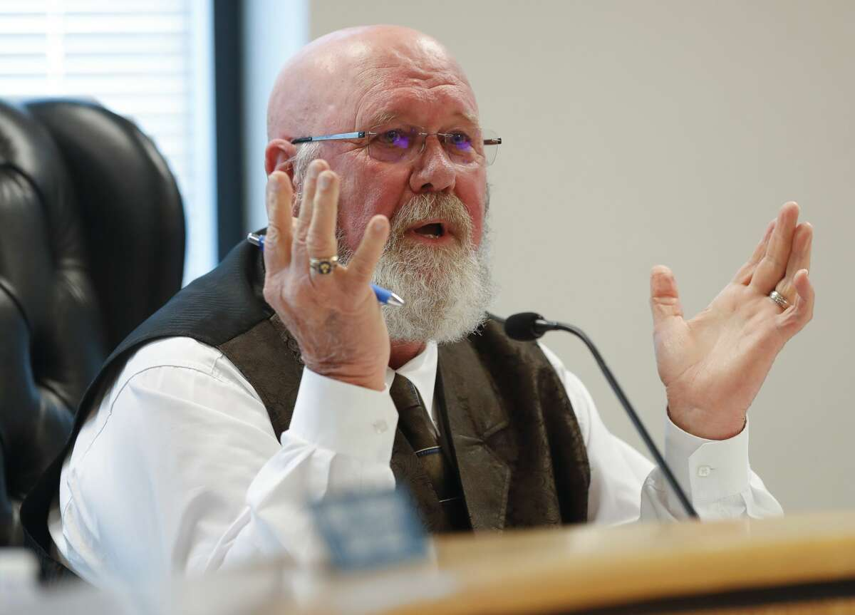 Montgomery County Precinct 2 Commissioner Charlie Riley discusses his concern after Judge Mark Keough explains his decision not issue a stay-at-home order during a Montgomery County Commissioners Court meeting, Tuesday, March 24, 2020, in Conroe.