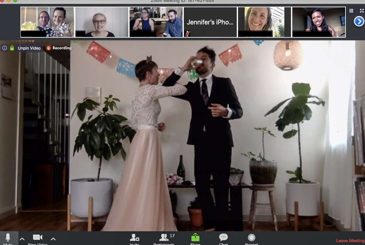 Amid current restrictions to shelter in place due to the coronavirus, newlyweds Christie Goshe and Jeffrey Placencia found a way to celebrate with their family and friends by getting married online.