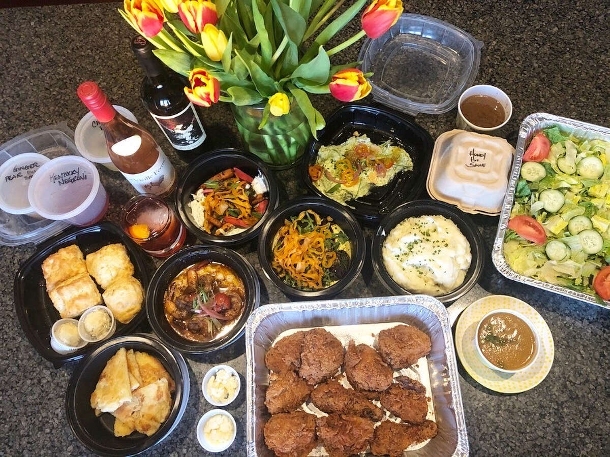 A spread of delivery food from The Cuckoo's Nest in Albany.