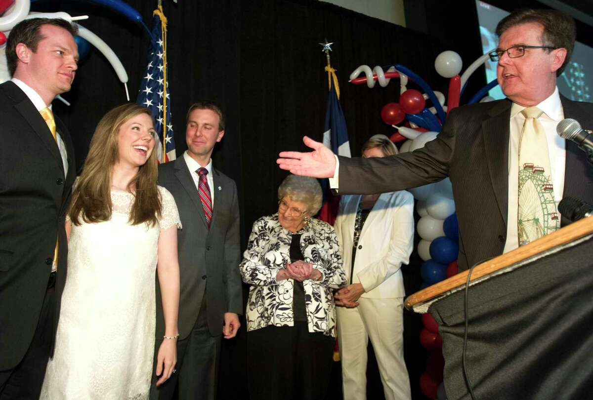 Republican Dan Patrick, right, introduces his family, from left, son-in-law Jared Scruggs, daughter Shane Scruggs, son Ryan, mother Jean Goeb, and his wife Jan as he speaks at his campaign watch party at the Hotel Sorella after incumbent David Dewhurst conceded the Republican primary runoff for lieutenant governor, Tuesday, May 27, 2014, in Houston. Patrick will face Democratic Sen. Leticia Van de Putte from San Antonio in November. (AP Photo/Patric Schneider)