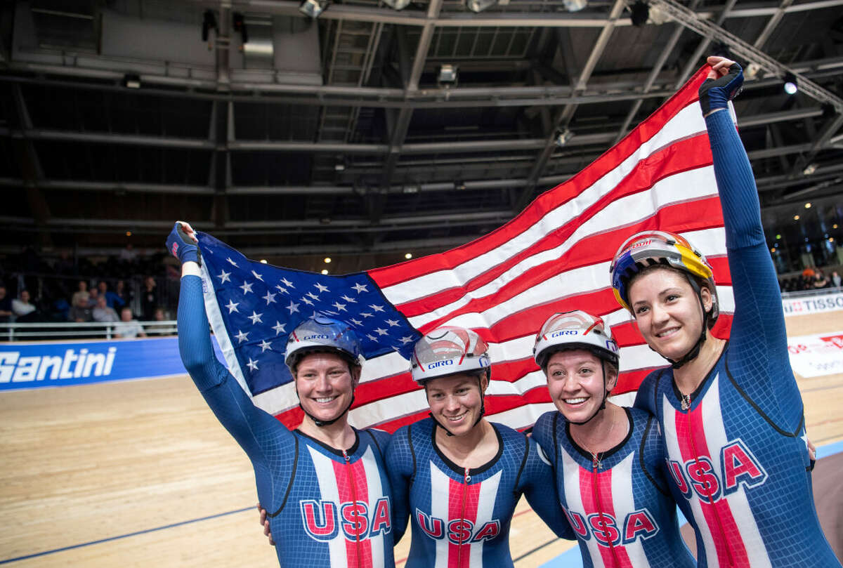 Duanesburg's Emma White, second from right, won gold in team pursuit at the UCI Track Cycling World Championships in Berlin in February.